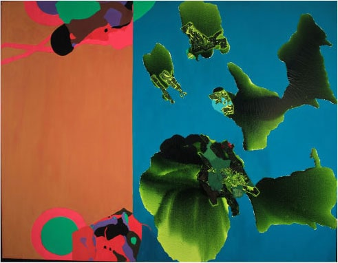 Untitled (green and orange), late 1980s, oil on canvas 70 by 90 inches