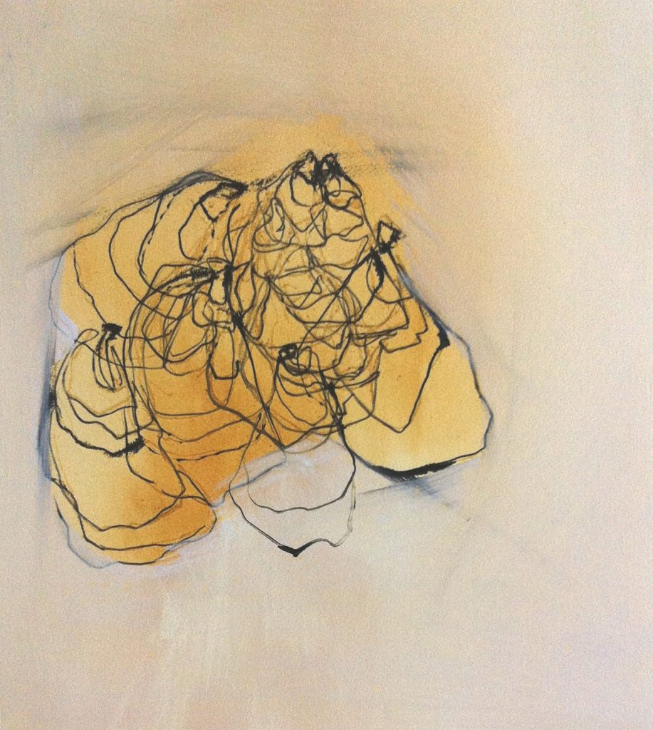 Dudley Zopp, Gold Oysters, watercolor, gesso, charcoal and sumi ink on Fabriano paper, 17 by 15 inches, 2014