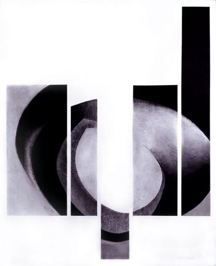 Abstract Drawing (2000), charcoal on paper, 76 by 59 inches