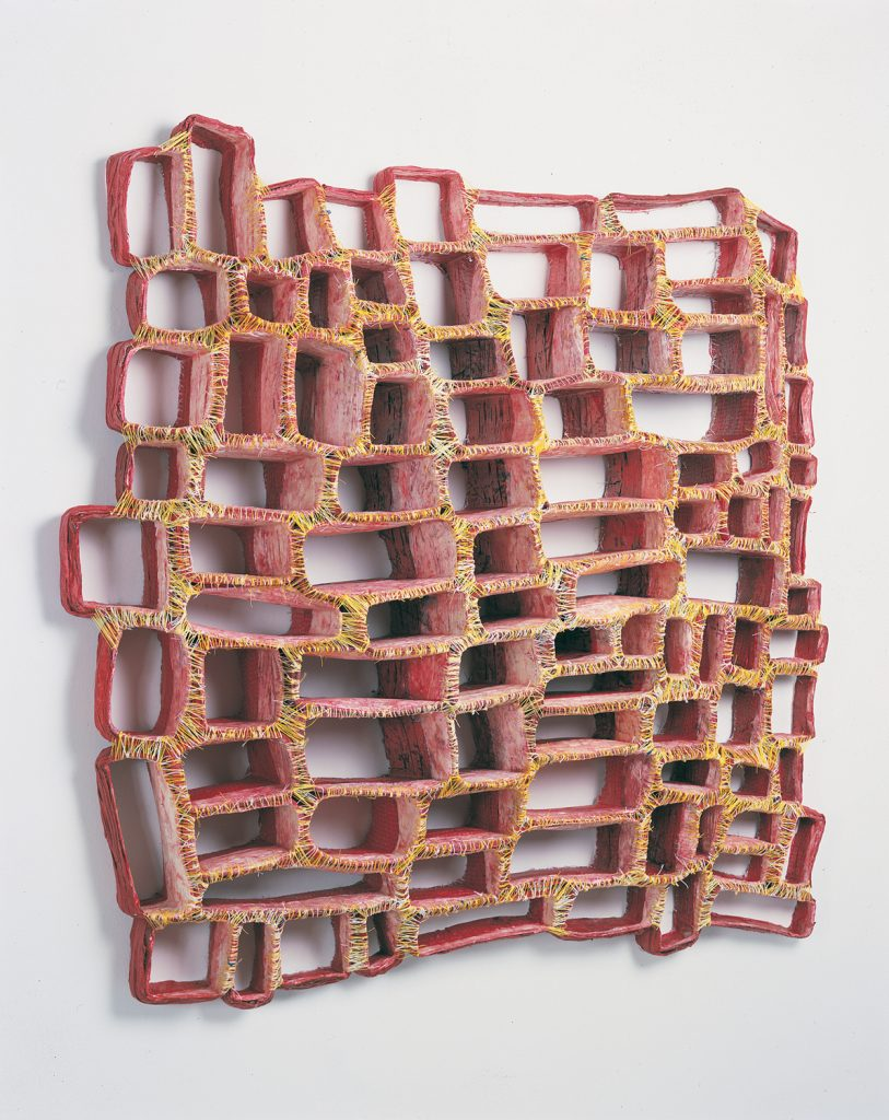 Cross Section #1 (2002), cloth, acrylic medium, acrylic paint, pigments, thread, 36 by 33 by 7 inches