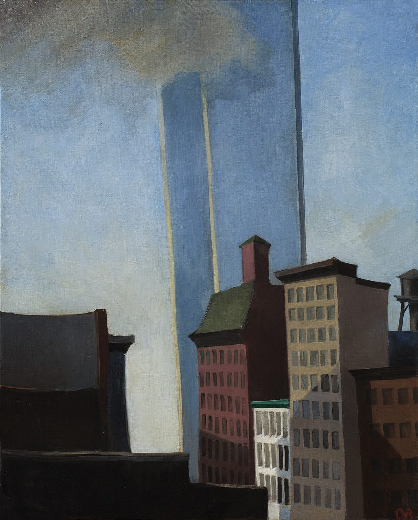 World Trade Center (1982), oil on linen, 34 by 24 inches