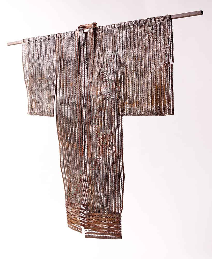 Kimono (2011), steel, copper, emeralds, red jasper, 72 by 53.5 by 7 inches