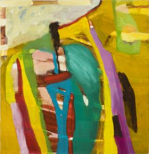 Stand Up (2010), oil on board, 10 by 10 inches