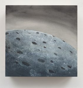 Lanny DeVuono, Small Terraforming #6 (2017), graphite, gesso, wax, and gouache, 10 by 10 inches