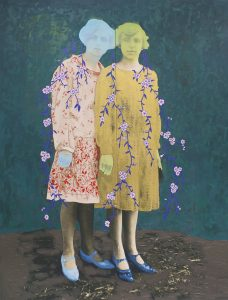 Untitled (Two Women), 2017, oil on archival print mounted to panel, 80 by 60 inches.