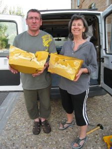 Paula Roland with the beekeeper who supplied wax for her encaustic paintings
