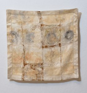 Brece Honeycutt, Bewildered (2016), eco-dyed textile, flax, and silk/cotton thread, 21-1/4 by 22 inches