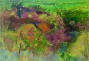 Ten Years After the Fires, Dorland Mountain (2016-17), pastel, acrylic and gel medium on sanded board, 26.5 by 38.5 inches