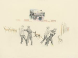 Fight Flight (1982), graphite and colored pencil, 25 by 34 inches