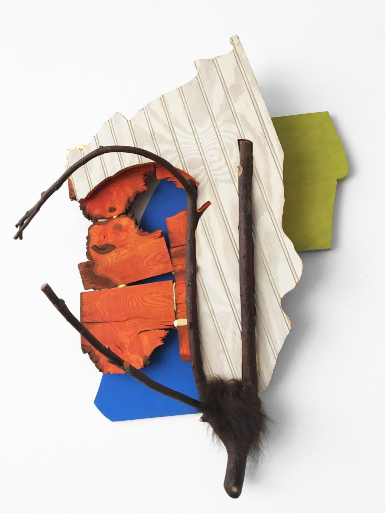 Squanto (2015), wood, foam, foam board, pigments, 33 by 26 by 16 inches