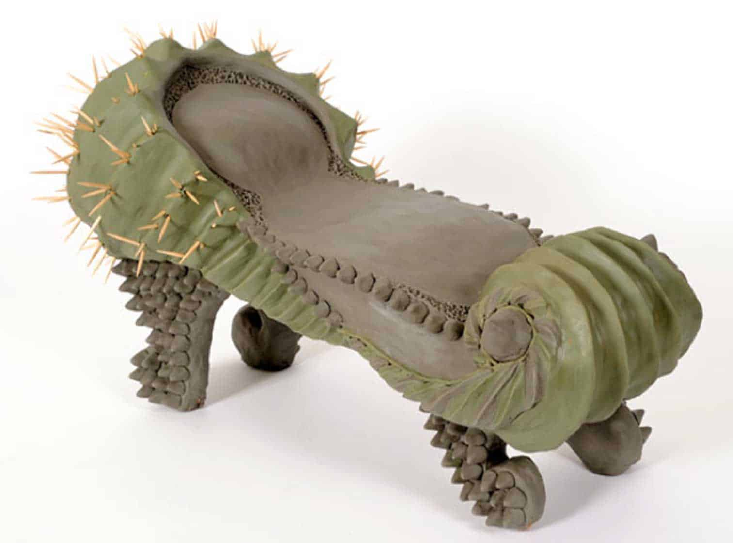 "From the artist's ""Cactus Furniture"" series (2008), made from clay and toothpicks and inspired by the local flora in Qatar"