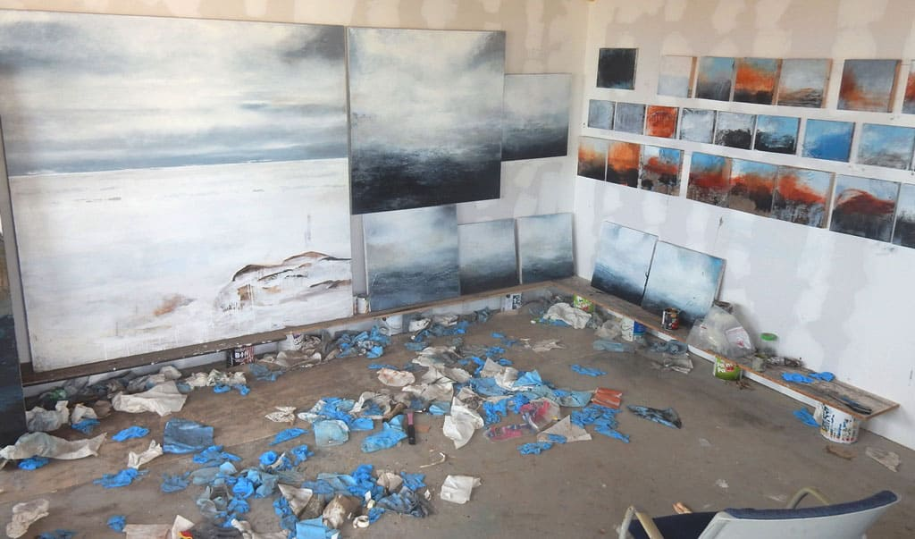 Some of the Fogo Island paintings M'Liz Keeffe raised money to produce