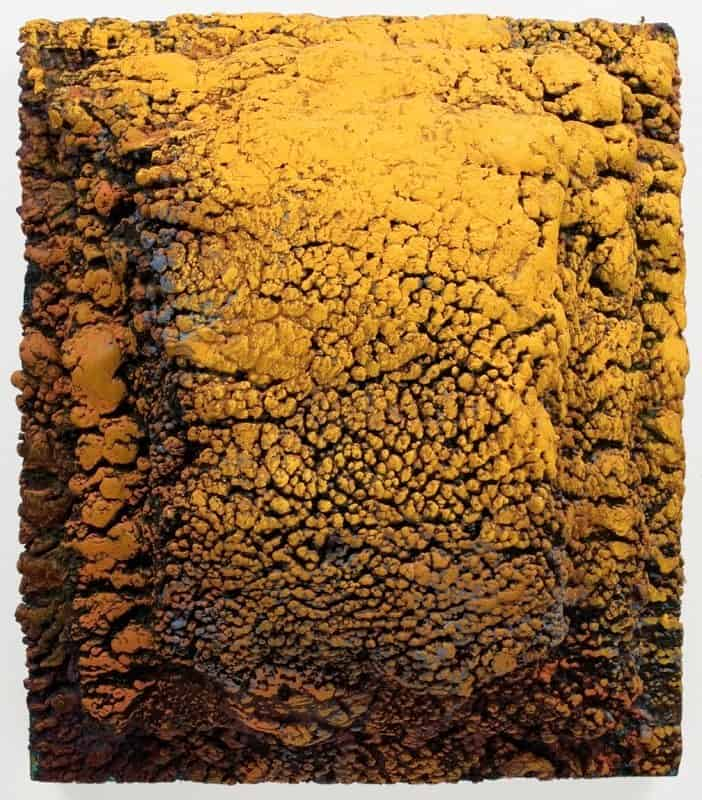 Chorten In Blue and Golds (2001-02), encaustic on Wood, 26 by 32 inches