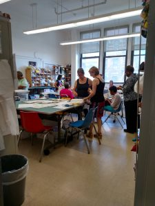 The sewing studio at Carter Burden headquarters in East Harlem