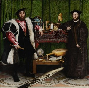 Hans Holbein the Younger, The Ambassadors (1533). The anamorphic skull is in the lower part of the canvas