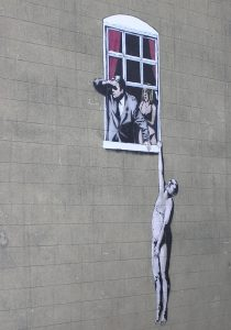Banksy: Naked Man, Park Street, Bristol, England (2006), photo by Adrian Pingstone