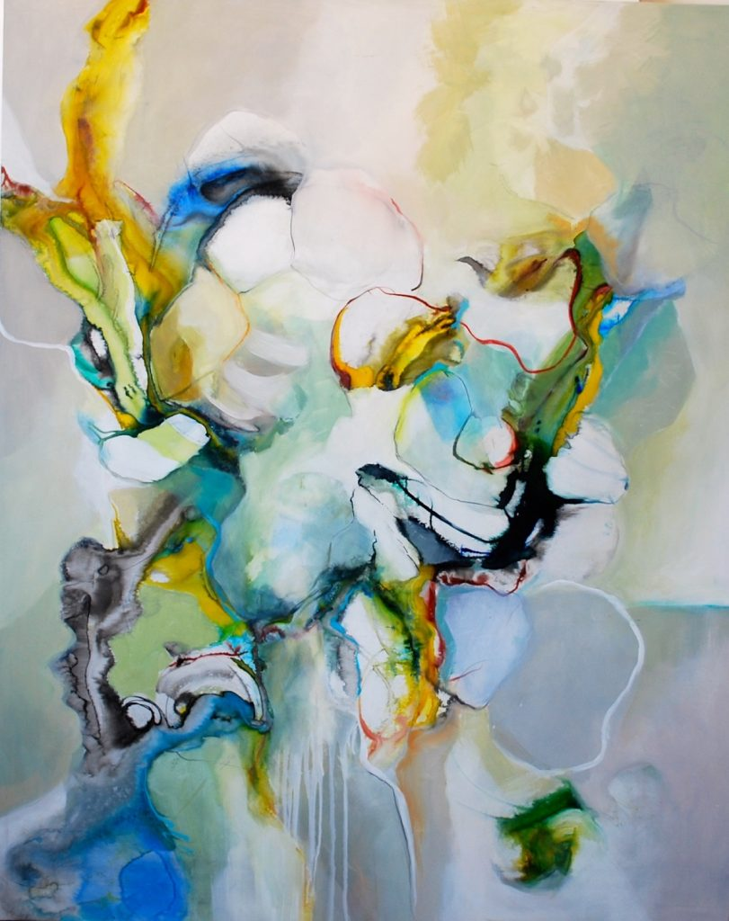 Carolyn Ashton, Dreamscape, mixed media on panel, 60 by 48 inches