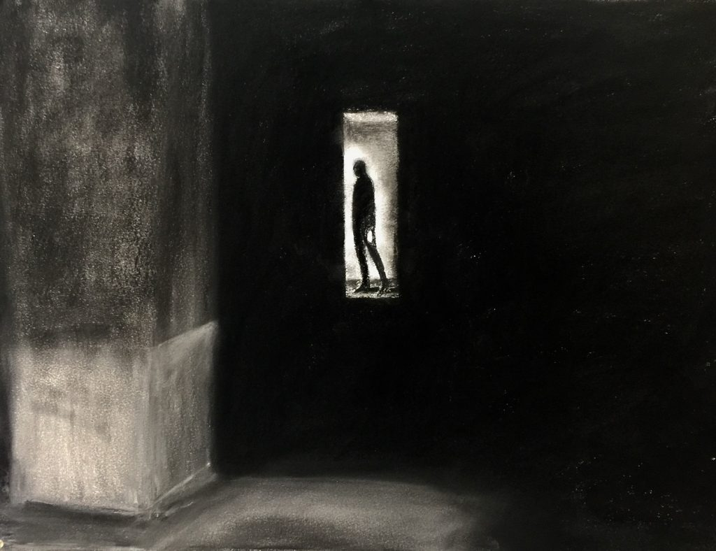 Andrea Broyles, Night Passage (2017), charcoal on paper, 33 by 50 inches