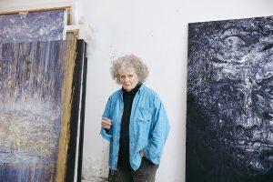 Maggi Hambling in her studio