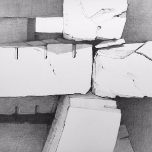 "Frances B. Ashforth, From the ""Cribstone Bridge"" series (2017), Kohinoor pencil on Bristol board, 22 by 22 inches"