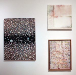 Laura Gurtson's Unknown Species #183 (left) at the Hal Bromm summer group show