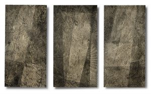 Sightlines (triptych), 2015, encaustic monotype on Shikoku paper on Dibond, 37 by 56 inches