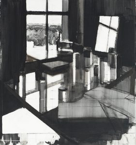 Peri Schwartz, Studio #13 (2012), Conté crayon on Mylar, 30.5 by 28.25​ inches