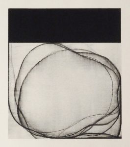 Traveling the Line (2016), pigmented charcoal on paper, 7 by 6.5 inches