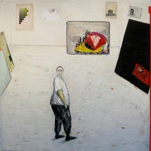 The death of a beloved dog is commemorated in Brenda Goodman's painting Quandary (2011)