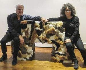 Niki Ketchman with husband Jeff and new sculpture