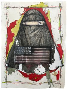 Cheryl Gross, Sanctuary Cities (2017), paper, India ink, gouache, water color, ballpoint, graphite, coffee, 40 by 26 inches