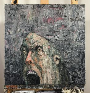 James Deeb, Chewing the Scenery (2017), oil on canvas, 20 by 20 inches