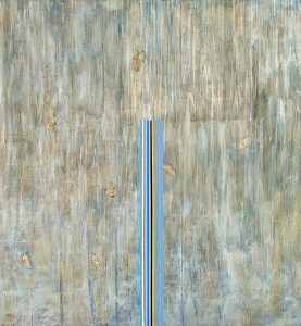 Cascade (2009), acrylic, cold wax, and pigment on canvas, 54 by 48 inches