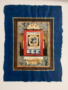 Tic Toc (1996), pencil, acrylic, collage on paper, 16 by 14 inches