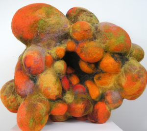 Blast II (2014) needlefelted wool, fiberfill, nylon, 33 by 26 by 23 inches