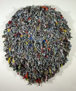 One Day (2010), repurposed plastic bags from delivered newspapers that were stripped, hand spun and crocheted, 48 by 43 inches