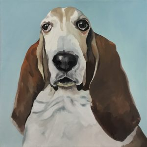 Sheila Miles sent three doggie portraits (and next year I'll open the contest up to all mediums), but I found this guy the most irresistible. He is Sherman, oil on canvas, 24 by 20 inches.