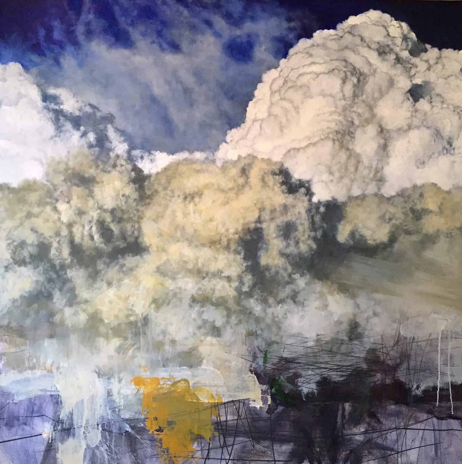 Suspension (east sky) II (2015), oil and charcoal on panel, 42 by 42 inches