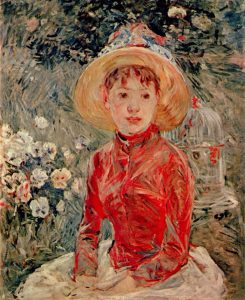 Berthe Morisot, Le Corsage Rouge (1885), 28.9 by 23.6 inches