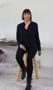 Kate Petley's studio photo for her self-published catalogue