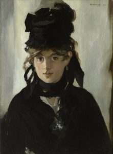 Edouard Manet, Portrait of Berthe Morisot (1872), oil on canvas, 22 by 16 inches