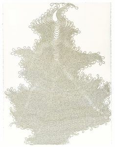Meg Hitchcock, Shoonya Vignana Bhairava Tantra (2009), letters cut from the Torah, 30 by 22 inches