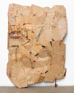 Helen O'Leary, Delicate Negotiations (2015), egg tempera and oil emulsion on constructed wood, 68 by 48 by 10 inches