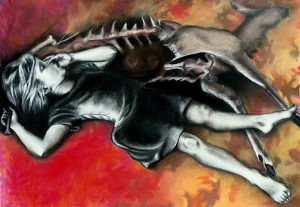 Cold Comfort (2007), charcoal and pastel on paper, 50 by 75 inches