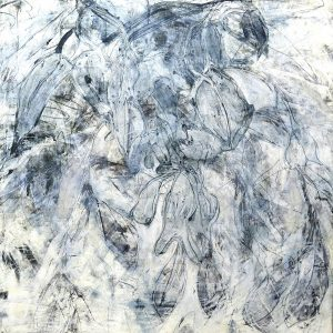 Debra Claffey, Indigo Ice #4 (2018), oil and trace monotype, encaustic, graphite on paper on panel, 36 by 36 inches