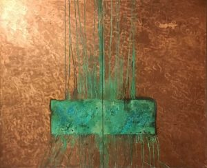 Beneath (2000-2001), mixed media on copper, 72 by 60 inches (two panels)