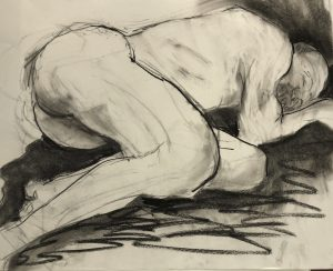 Barbara Kemp Cowlin, Imo Lying Down (2018), compressed charcoal, 18 by 24 inches