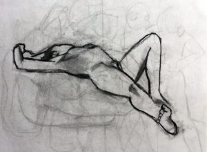 Peggy Klineman, figure drawing, 20 by 15-3/8 inches