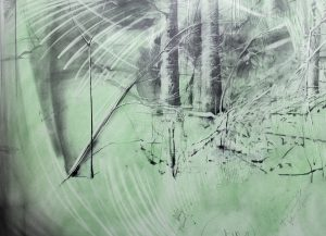 "Rachel Wolfson Smith, The Cabin, detail from a 54"" x 110 drawing, 54 by 110 inches, graphite and pigment on paper"