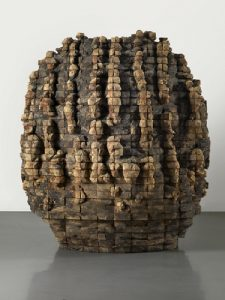 Ursula von Rydingsvard, Bowl with Mantle (208), cedar and pigment, 56 by 41 by 38 inches